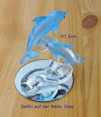 glas delphin blau